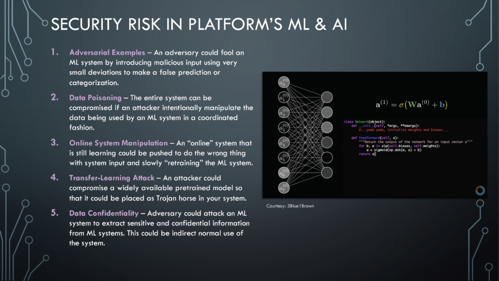 Security Risk in Machine Learning